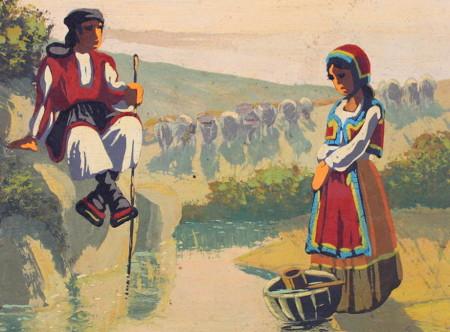 quadretto raffigurante uomo sardo seduto sulla sponda di una specchio d'acqua con un bastone in mano e donna aggraziata con mani giunte e cesto pogito in acqua, gregge sullo sfondo