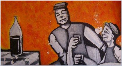 particolare di murale in Santa Lucia raffigurante due uomini in brindisi